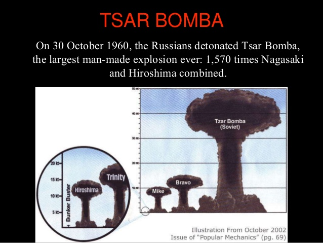 Tsar Bomba– the biggest man-made explosion ever.